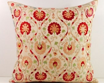 Hand Embroidered Uzbek Suzani Pillow Cover msp7-36
