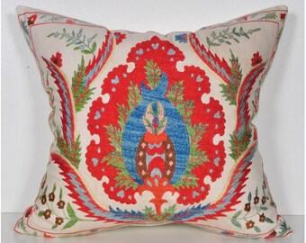 Handmade Suzani Pillow Cover emp9-26, Suzani Pillow, Uzbek Suzani, Suzani Throw, Suzani, Decorative pillows, Accent pillows