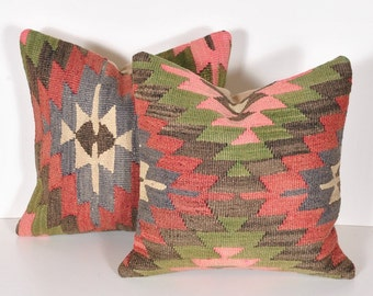 Set of 2 Vintage Hand-Woven Kilim Wool Pillow Covers kp593