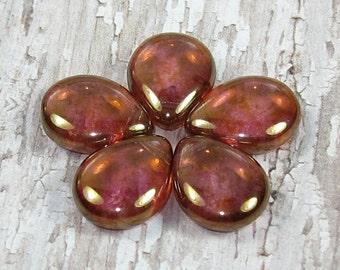 Rose Topaz Pear Shaped Drop 12x16mm Bead Czech Glass  Luster GOLDEN ROSE (6)