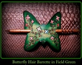 Colorful Real Leather Butterfly Hair Barrett with small Hand Painted Flowers with very upscale stick with high gloss varnish....