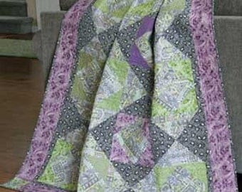 Lavender and Sage Throw Quilt Pattern.  55'' x 64''