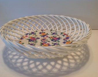 "Erphila Warwick Cheery Chintz, Germany, 8.5"" Basket Weave Bowl"