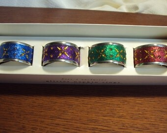 Napkin Rings, set of four, Glittery napkin rings, Great for Mardi Gras and the Christmas season