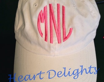 Monogrammed Ball Cap Ladies White Personalized Ball Cap Teens Bridesmaids Girls