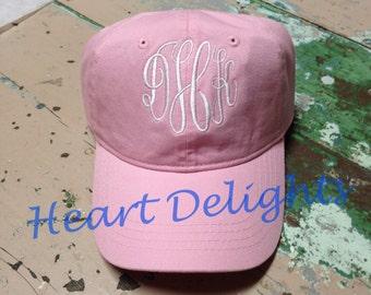 Pink Monogrammed Baseball Cap Monogrammed Hat Ladies Girls Teens BaseBall Cap Bridesmaids Gift