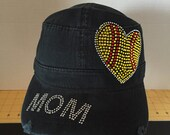 Love Softball Mom Rhinestone Embellished Military Style Cotton Hat