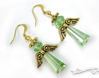 Peridot Green Angel Earrings, Holiday jewelry Christmas earrings Catholic jewelry Christian earrings, green earrings christian gift catholic