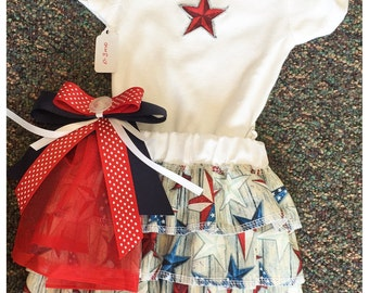 Baby Onesie & Skirt Set w/ Hair Clip