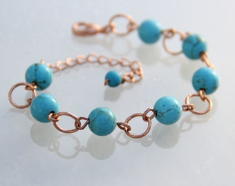 Copper turquoise link charm Bracelet bridesmaids gifts Free US Shipping handmade Anni Designs