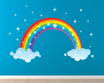 Rainbow Decal, Reusable Fabric Decal, Boys Decals, Q11