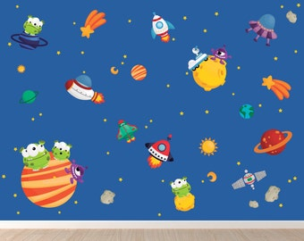 Aliens Decal, Reusable Fabric Decal, Space Wall Decals, Ecofriendly No Toxins No PVCs Decals, WD7