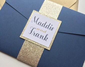 Cobalt wedding invitation, gold wedding invitation, Wedding Invitations with Glitter, Pocketfold Invitation - Madelyn Suite