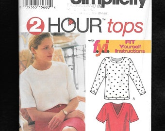 Vintage 1994 Simplicity 9086 Misses' Tops, With Jewel Neck Or V Neckline, Long Or Short Sleeves, Sizes 12 To 18, UNCUT