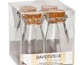 Mini Glass Milk Bottle with Cork Top - David Tutera Casual Elegance - Set of 4