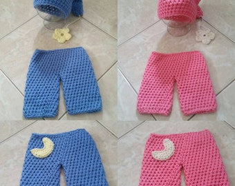 Crochet Sleepy Time Outfit (Cap and pants)