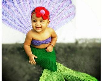 Crochet The little Mermaid Ariel Outfit (headband, shell bra, mermaid tail)