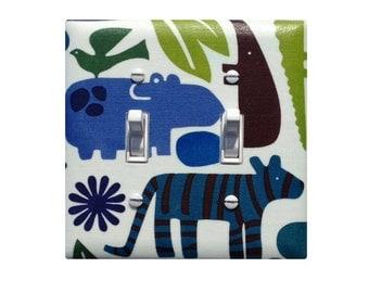 2D Zoo Pool / Double Tiger Safari Light Switch Plate Cover / Baby Boy Nursery Decor / Navy Green Bathroom Blue Green / Alexander Henry