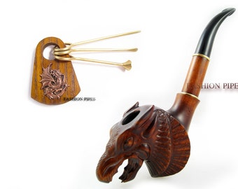 """SET - Exclusive Wooden pipe Churchwarden """"DRAGON"""" + Tamper Tools, Tobacco Pipe Smoking Pipes/Pipe. Handcrafted wooden pipe."""