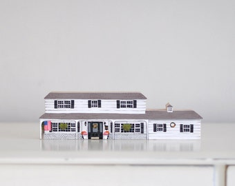 HOUSE PORTRAIT - wooden block - personalised - portrait of your house - hand painted wooden house, miniature house, hand painted house