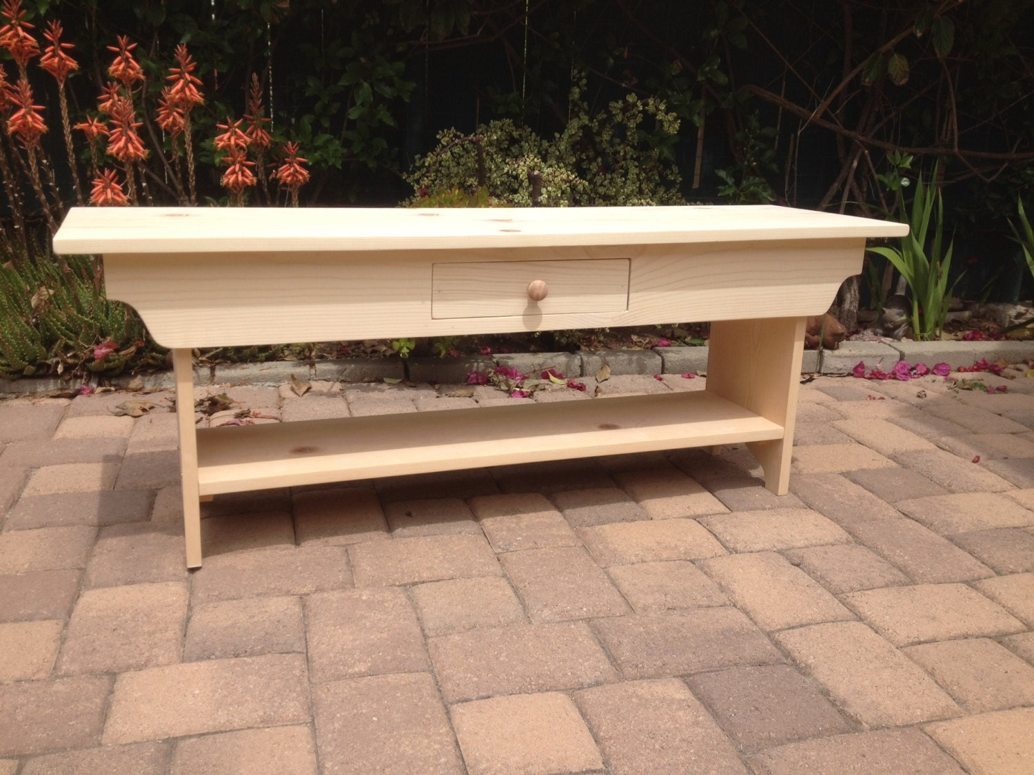 Unfinished 4 Foot Wooden Bench With Drawer By Squarenailfurniture