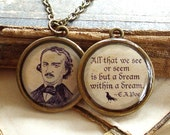Edgar Allan Poe and Quote Necklace - DOUBLE-SIDED Antique Goth Print Necklace W/ Chain in Brass or Silver - The Raven