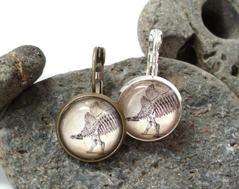 Dinosaur Earrings - Stegosaurus Earrings in Brass or Silver