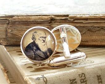 Charles Darwin Cufflinks - Darwin Cuff Links in Silver