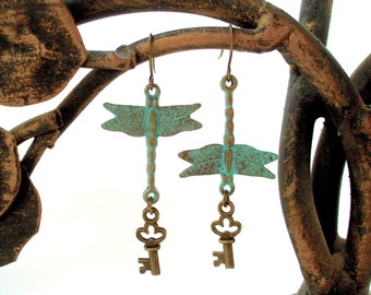 SALE - Dragonfly Earrings - Antique Patina Bronze Dragonflies