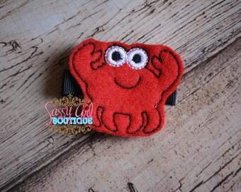 Summer Girls Felt Hair Clip -Sea Animal-Beach Hair Accessories-Red Crab-Embroidered Boutique Ocen Felt Hair Clippie-No Slip Grip
