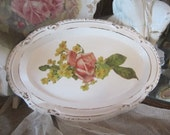 ON SALE Shabby White HP Silver Plate Tray Pink RoSeS Shabby Chic Romantic Prairie