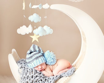 Crochet Long Tail Elf Hat, Baby elf Hat, Newborn Hat, Long Tail Elf Hat, Photo Prop