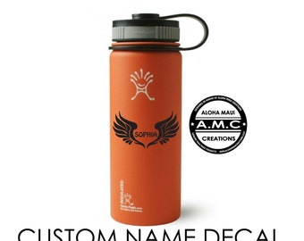 Custom Name Hydro Flask Decal - Angel Wings Sticker