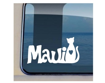 Cat Maui Decal Hawaiian Feline Sticker 331
