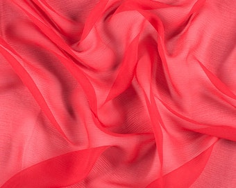 "42"" Wide 100% Silk Crinkled Chiffon Bright Red by the yard"