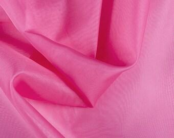"45"" Wide 100% Silk Organza Hot Pink by the yard"