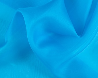 "45"" Wide 100% Silk Organza Turquoise by the yard"