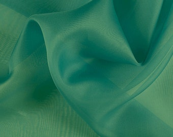 "45"" Wide 100% Silk Organza Teal Green by the yard"