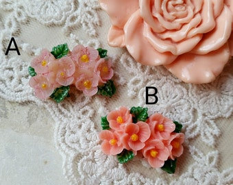 26 mm x 17 mm Pink Color Resin Flower Cabochons with green leaves (.gg)(zzb)