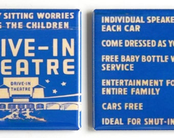 Drive In Movie Theater Fridge Magnet Set