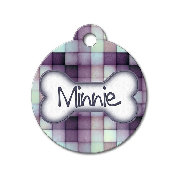 Purple Tiles - Dog ID Tags, Cat ID Tags, Dog Tags for Dogs, Stainless Steel Pet Tag, Personalized Pet Tag, Custom Pet Tag - Pattern Pet Tags