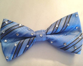 Blue Stripe Bow Tie with clear rhinestones for men or women