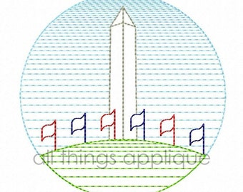 Washington Monument Sketch Embroidery Design - (#651) - INSTANT DOWNLOAD