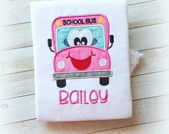 School bus shirt - pink school bus shirt - back to school shirt - girls school bus shirt - school days - kindergarten shirt -1st grade shirt