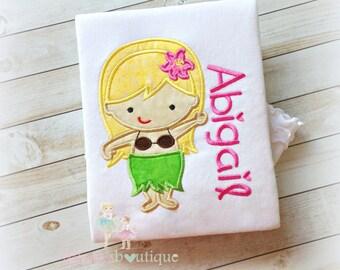 Hawaiian girl shirt - Luau themed shirt - summer hula hawaiian girl- personalized girls shirt with hula dancer- summer themed shirt for girl