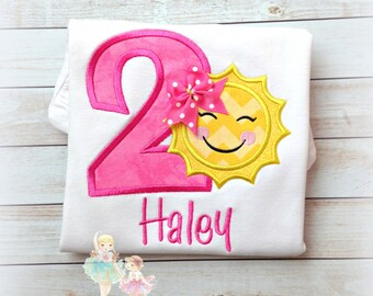 Little Sun Birthday Applique Shirt- Custom Embroidered- Pink and Yellow- 1st Birthday Shirt