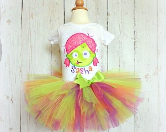 Zombie Halloween outfit for girls- Zombie costume - zombie tutu outfit - Halloween tutu - custom embroidery - personalized outfit