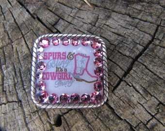 """1.25"""" Copper Square """"COwgirl Thing"""" Custom Designed Graphics Concho"""