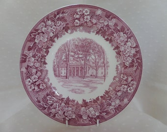 Wedgwood Collectors Plate -- Albion College Michigan -- Susana Wesley Hall -- Purple Transfer