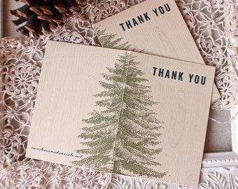 rustic Pine Tree Thank You Notes set of 5 Vintage Illustration Woodgrain Green Teal